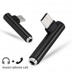 DrPhone Hamer Type C naar Aux audio adapter - USB C naar 3,5 mm hoofdtelefoon Vrouwelijke Aux - Microfoon Connector - Zwart