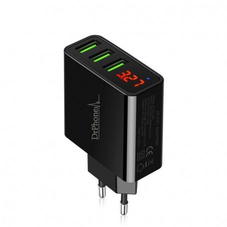 DrPhone Thuislader 3 poorten USB-oplader 2.4A Smart Fast Charge Lader met LED-display real-time status - Zwart