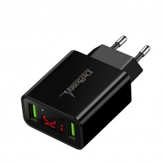 DrPhone Thuislader 2 poorten USB-oplader 2.1A Smart Fast Charge Lader met LED-display real-time status