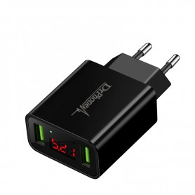 DrPhone - Thuislader 2 poorten USB-oplader 2.2A Smart Fast Charge Lader met LED-display
