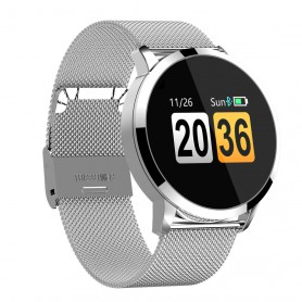 DrPhone DQ Sport Smartwatch – Stappenteller – Touch OLED 0.95 inch – Fitness horloge – Waterdicht IP67 – Notificaties - Zilver