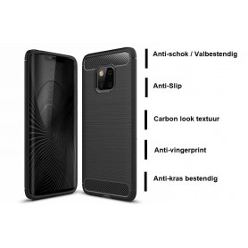 DrPhone Mate 20 PRO Hoesje - Geborsteld TPU case - Ultimate Drop Proof Siliconen Case - Carbon fiber Look – Zwart