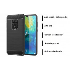 DrPhone Mate 20 Hoesje - Geborsteld TPU case - Ultimate Drop Proof Siliconen Case - Carbon fiber Look – Zwart