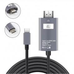DrPhone USB-C naar HDMI Adapterkabel - 4K 30Hz -1080P HD HDTV Adapter - Geschikt voor o.a MacBook Pro 2017 / Galaxy S9/ Note 9..