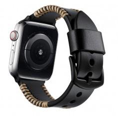 DrPhone Apple Watch 1/2/3/4 - 42mm - 44mm - Horlogeband Lederen Handgemaakte Stiksels Armband - Zwart