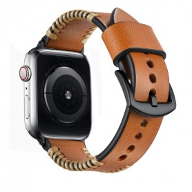 DrPhone Apple Watch 1/2/3/4 - 42mm - 44mm - Horlogeband Lederen Handgemaakte Stiksels Armband - Bruin