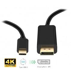 DrPhone USB 3.1 Type C USB-C (Thunderbolt 3) naar Displayport – 4K HDTV Adapter – 60hz – 1.8M - Zwart