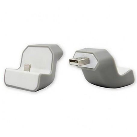 DrPhone Muur Dock USB Adapter - Muur Houder - voor Apple Lightning - Grijs wit