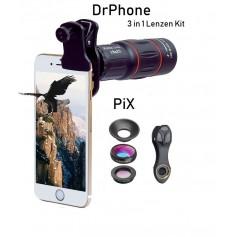 DrPhone PiX - 3 In 1 Premium lenzen Kit - 18X Telephoto Lens, Macro,Wide Angle Lens - Smartphones / Tablets
