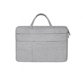 DrPhone S04 Laptop Sleeve Case HandTas – Waterafstotend – Meerdere zakken - Geschikt tot 15 inch – Grijs