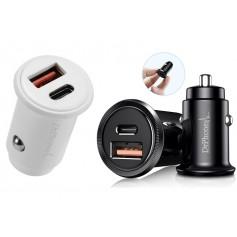 DrPhone® Invisible Pro Autolader - 30W - USB-C met PD (power delivery) Snel Laden - Smartphones / Tablets en meer – Wit