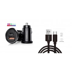 DrPhone® Invisible Pro - Autolader – Qualcomm 4.0 - 30W - USB-C met PD (power delivery) + Power USB-C Kabel