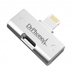 DrPhone NEX - 2 in 1 - FastCharge - Metalen Lightning Splitter Audio Adapter - Stereo Sound - 2 Lightning Poorten