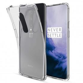 DrPhone Oneplus 7 pro TPU Hoesje - Siliconen Shock Bumper Case met Verstevigde randen - Transparant
