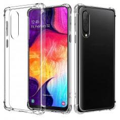 DrPhone Samsung A50 TPU Hoesje - Siliconen Bumper Case met Verstevigde randen – transparant