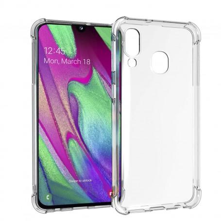 DrPhone Samsung A40 TPU Hoesje - Siliconen Bumper Case met Verstevigde randen – transparant