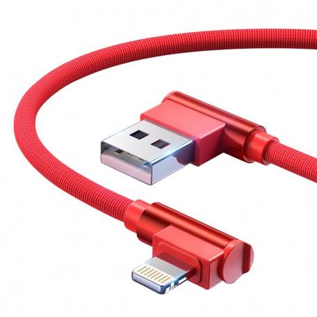 DrPhone Lightning Dubbele 90° Haakse Gevlochten 2.4A kabel - Datasynchronisatie & Snel opladen – Zwart/Rood