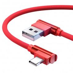 DrPhone Type-C Dubbele 90° Haakse Gevlochten 3A kabel - Datasynchronisatie & Snel opladen – Zwart/Rood