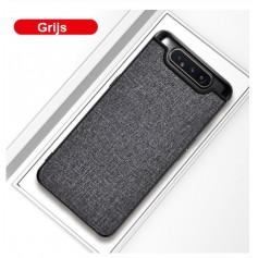 DrPhone Samsung A80 Stoffen Hoes - TPU-bumper - Schokbestendig - Anti-vingerafdruk - Antislip - Zwart