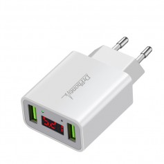 DrPhone - Thuislader 2 poorten USB-oplader 2.2A Smart Fast Charge Lader met LED-display - Wit