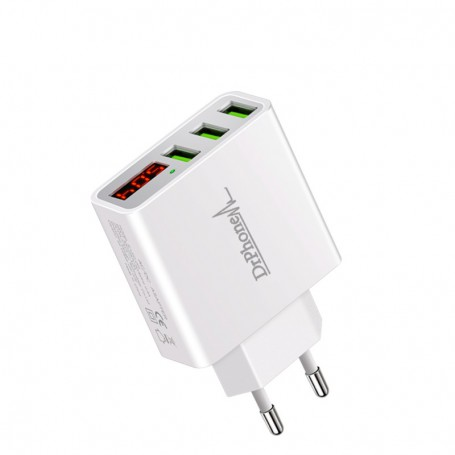 DrPhone - Thuislader 3 poorten USB-oplader 2.4A Smart Fast Charge Lader met LED-display - Wit