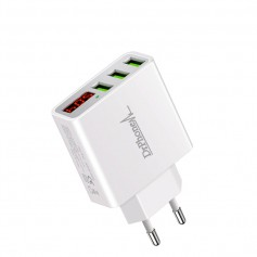 DrPhone - Thuislader 3 poorten USB-oplader 2.4A Smart Fast Charge Lader met LED-display - Wit