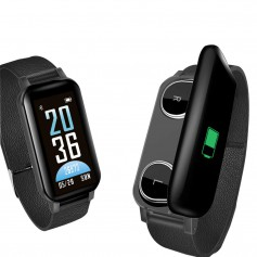 Drphone DUALX – Smartwatch Activity Tracker + Geïntegreerde Headset 2 in 1 – TWS draadloze Oordoppen - Zwart