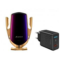 DrPhone Smart Sensor V2 Autohouder- Draadloze Qi Oplader – Infrarood - 360 graden rotatie + DrPhone QC 3.0 Adapter - Zilver