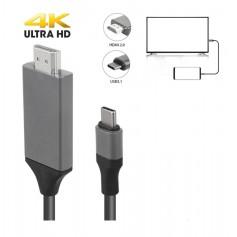 DrPhone - 4K x 2K 30hz (3840 x 2160 HD) TYPE C Premium HDMI Adapter USB C naar HDMI support 1080p - Alt DP Mode 2 Meter