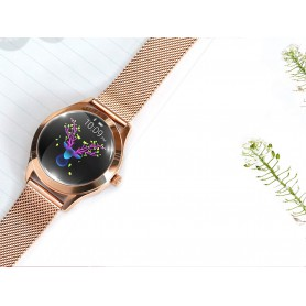 DrPhone L10 Series - Vrouwen Smartwatch + Stappenteller – Lederen Band – Wit