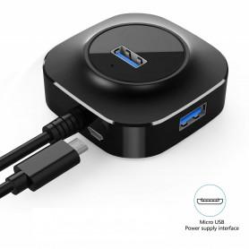 DrPhone Compacte 4-poorts USB 3.0 Hub met Micro USB-interface – 5 Gbps - Zwart