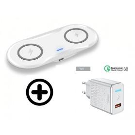 DrPhone Compaq V2 - 2 in 1 Draadloze DUAL QI Oplader - Smartphone /Smartphone - Zwart
