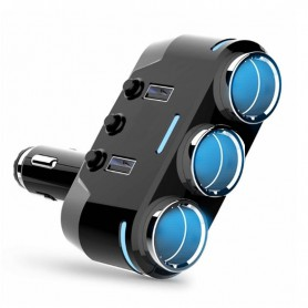 DrPhone CAR1 Multifunctionele Autolader - 3 Contactdozen -100W & 2 USB poorten 3.1A (1A / 2.1A)
