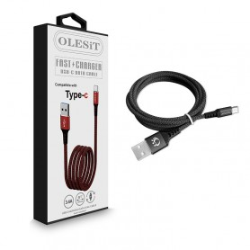 Olesit Type-C USB C Fast Charge 3.4A - Oplaadkabel - Veilig laden - Data Sync & Transfer - Anit-Knik - 1.5M Zwart