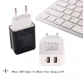 Olesit 3.4A 17W Fast Charge Adapter 2 Poort Lader Snellader Micro USB Oplader 2 Poorten + Micro USB Kabel 1.5 Meter Fast