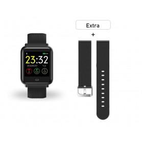 DrPhone Q-Pro Smart Watch Sport Armband – 2 diverse afneembare banden – Zwart