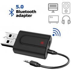 DrPhone 2 in 1 USB Bluetooth-adapter 5.0 + EDR - Bluetooth-zender Ontvanger HiFi Draadloze audio-adapter met 3,5 mm AUX