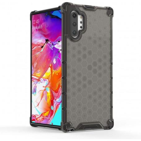 DrPhone Note10+(Plus) Honeycomb Hoes met Verstevigde Rand – Anti-Drop Case – Zwart