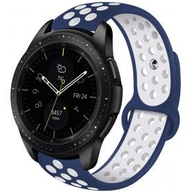 DrPhone Siliconen Polsband Galaxy Watch 40 mm & 42 mm - 20 mm Sportband – Blauw/Wit