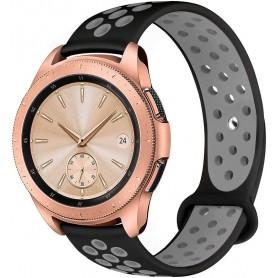 DrPhone Siliconen Polsband Galaxy Watch 40 mm & 42 mm - 20 mm Sportband – Zwart/Grijs