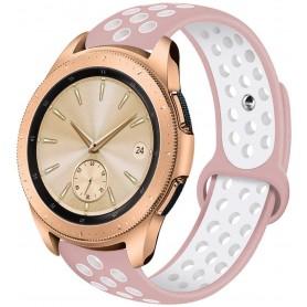 DrPhone Siliconen Polsband Galaxy Watch 40 mm & 42 mm - 20 mm Sportband – Roze/Wit