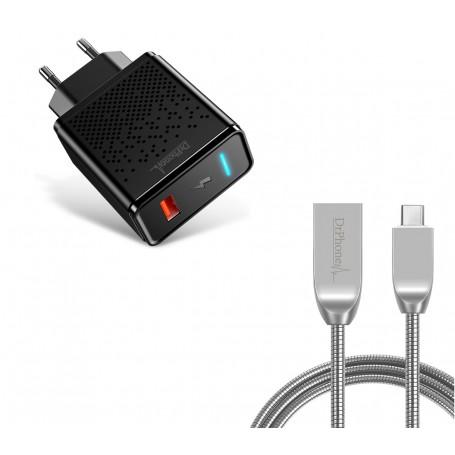 DrPhone Durable Pro® - Metalen USB-C Oplaadkabel + Adapter - Voor Type-C Aansluiting (Tablet/Smartphone) - Zwart / Zilver