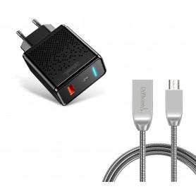 DrPhone Durable Pro® - Metalen Micro USB Oplaadkabel + Adapter - Voor Micro-USB Aansluiting (Tablet/Smartphone) - Zwart / Zilver