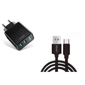 DrPhone Kevlar Pro® - 3 Meter TPE USB-C Kabel + 2 Poorten Thuislader - Voor Type-C Aansluiting (Tablet/Smartphone) - Zwart