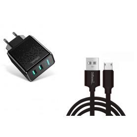DrPhone Kevlar Pro® - 2 Meter TPE Micro-USB Kabel + 2 Poorten Thuislader - Voor apparaten met Micro USB aansluiting - Zwart