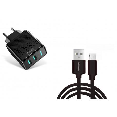 DrPhone Kevlar Pro® - 1 Meter TPE Micro-USB Kabel + 2 Poorten Thuislader - Voor apparaten met Micro USB aansluiting - Zwart