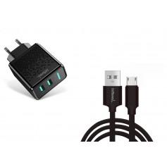 DrPhone Kevlar Pro® - 3 Meter TPE Micro-USB Kabel + 2 Poorten Thuislader - Voor apparaten met Micro USB aansluiting - Zwart