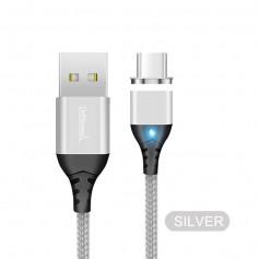 DrPhone Echo Series - 2 Meter - Zilver - Magnetische USB-C Kabel 3A Type-C oplaadkabel - Snellader - Nylon Gevlochten Kabel