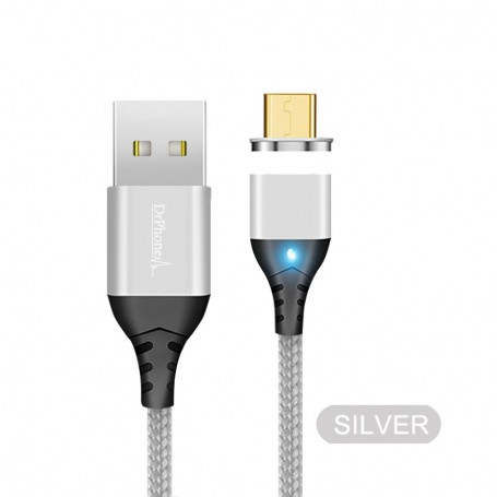 DrPhone Echo Series - 2M - Zilver - Magnetische Micro-USB oplaadkabel - Supercharge(5A)/Quick Charge 4.0/3A - Snellader