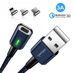 DrPhone iCON - 3 in 1 Magnetische Oplaadkabel Blauw + Datakabel - Qualcomm 3.0A FastCharge - Lightning / USB-C / Micro USB